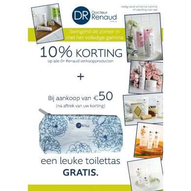 Een leuke toilettas gratis bij Dr Renaud aankopen vanaf €50,-